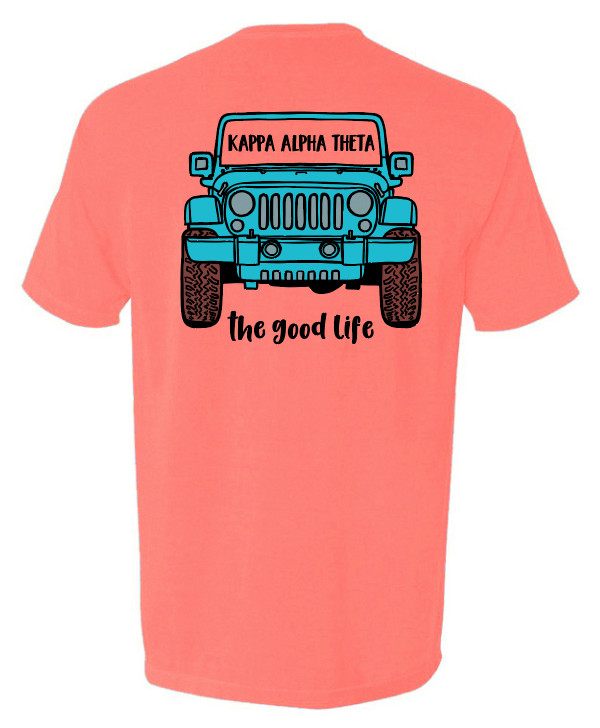 Neon coral jeep